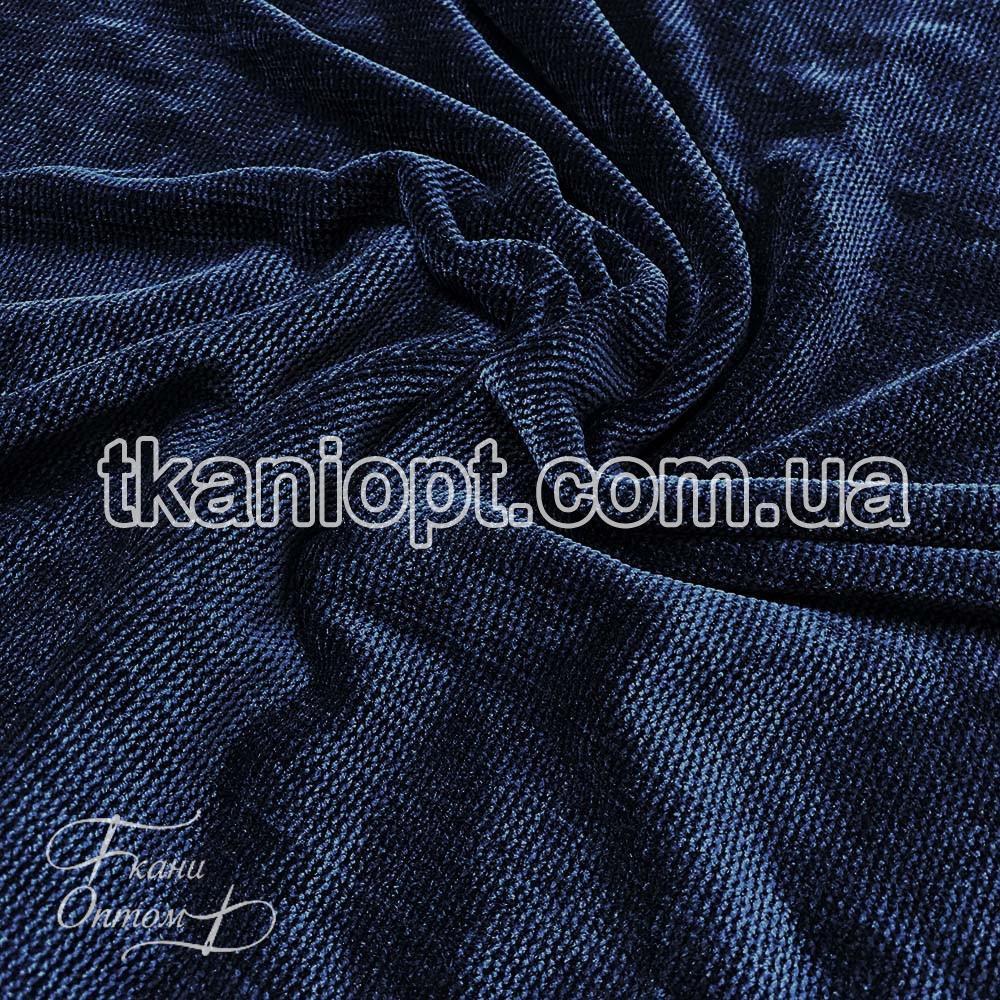Ткань Вельветовый плюш miu-miu (темно-синий)
