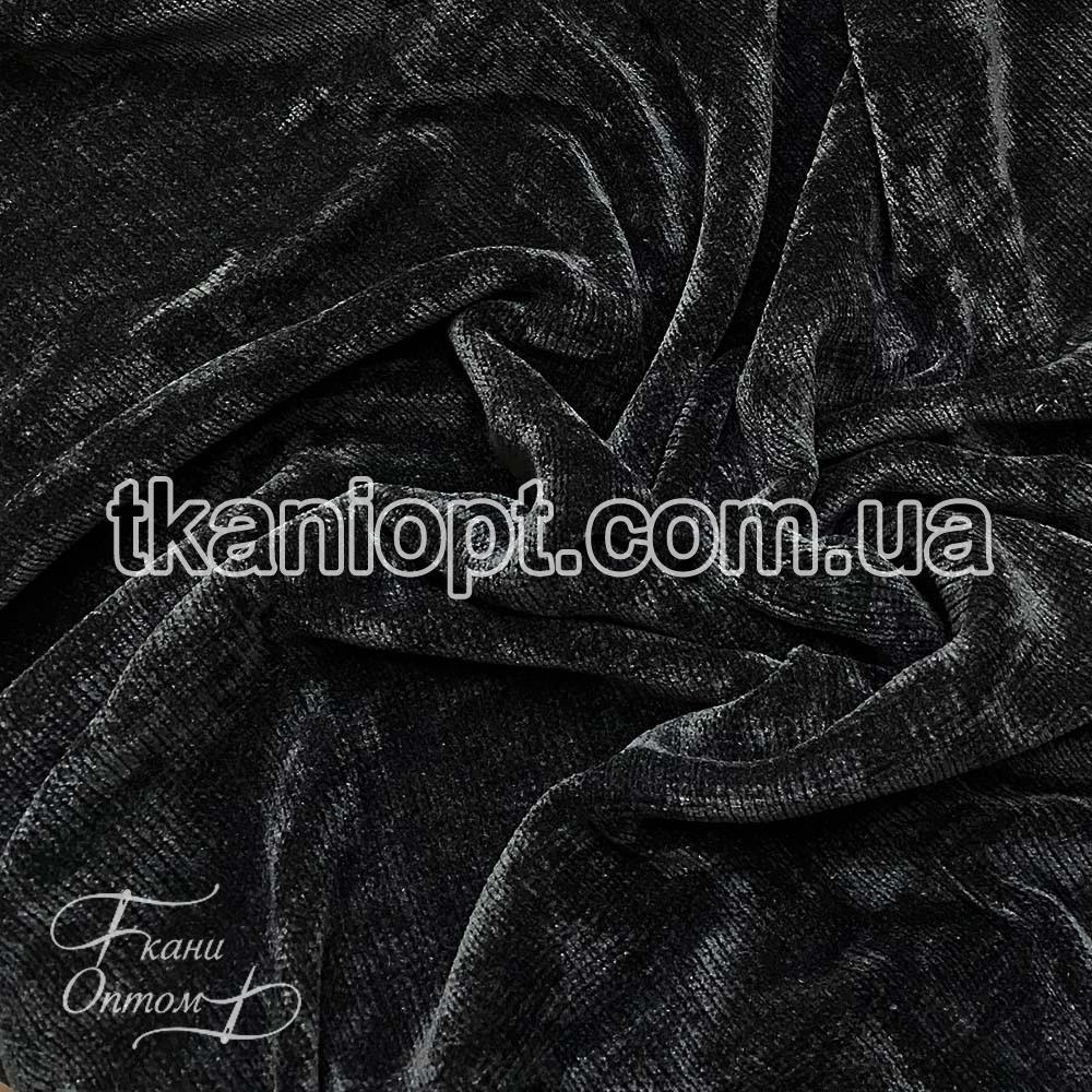Ткань Вельветовый плюш miu-miu (черный)