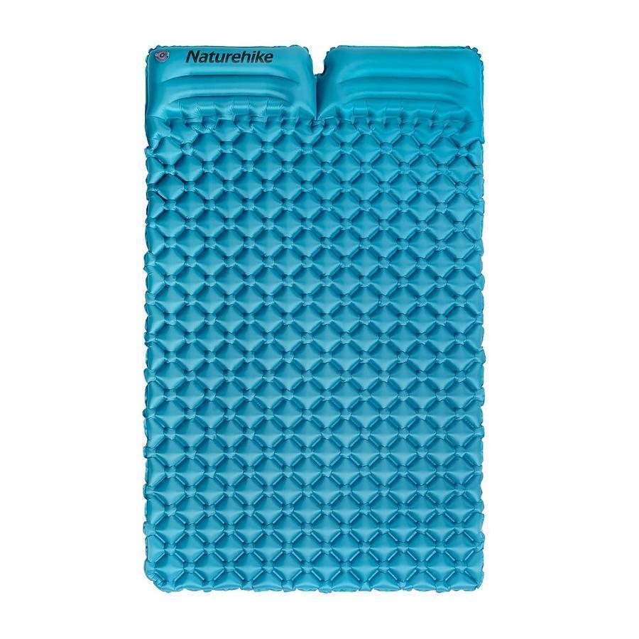 Подвійний надувний матрац з подушками Nature Hike ULTRALIGH TPU 185х115х5см, Вага 965гр, синій