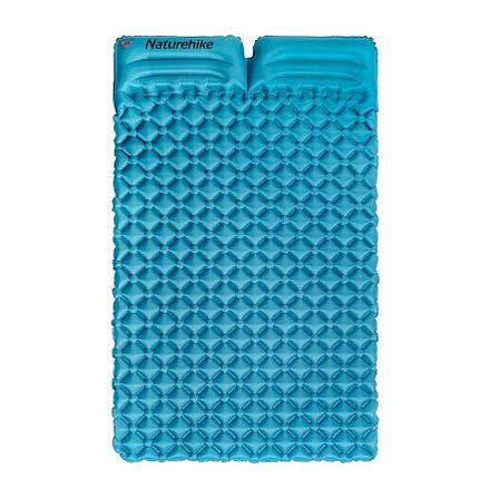 Подвійний надувний матрац з подушками Nature Hike ULTRALIGH TPU 185х115х5см, Вага 965гр, синій, фото 2
