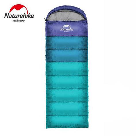 Спальный мешок с капюшоном Nature Hike U280 (190+30)x75см, вес 1,2кг, 5-10C синий, фото 2