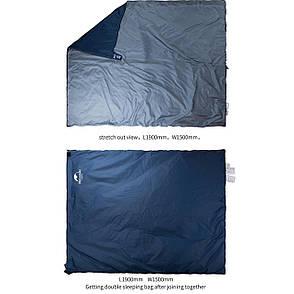 Спальний мішок Nature Hike MINI ULTRA LIGHT збільшений розмір 205х85см, вага 1кг, 8-15℃ синій, фото 2