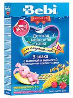 Молочна каша Bebi Premium 3 злаки з малиною і мелісою 200 г (1008824)