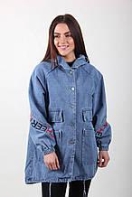 Женский джинсовый кардиган с капюшоном и карманами