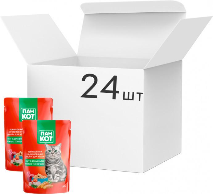 Влажный корм для кошек Пан Кот Микс (8 вкусов по 3 пауча), упаковка 24 шт по 100 грамм пауч.