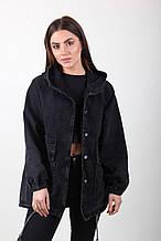 Молодежная джинсовая куртка-кардиган черный цвет на пуговицах