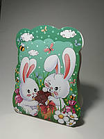"Коробочка-корзинка для сладостей на Пасху ""С Зайчиком"" вес до 400г"