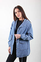 Женский джинсовый кардиган большого размера с капюшоном