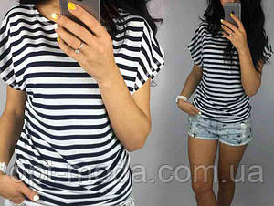 Женская футболка в полоску, качественная вискоза, размер 42-44, 46-48