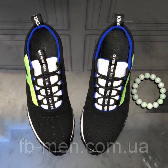 Черные кроссовки с зеленым лого Fendi