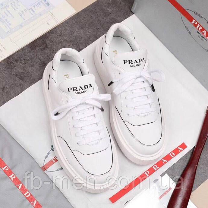 Белые кроссовки Prada