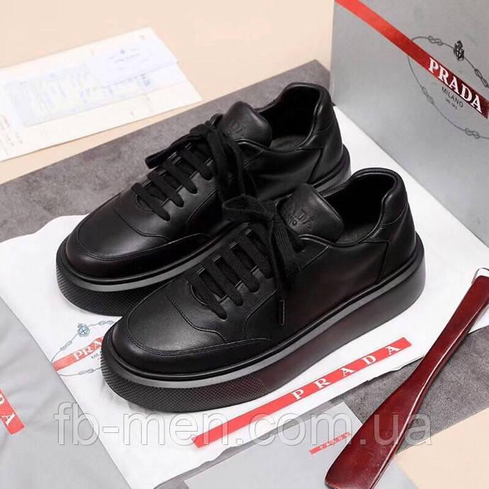 Черные кроссовки Prada|Кроссовки кожаные мужские Прада черного цвета с логотипами