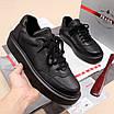 Черные кроссовки Prada|Кроссовки кожаные мужские Прада черного цвета с логотипами, фото 4