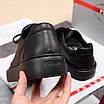 Черные кроссовки Prada|Кроссовки кожаные мужские Прада черного цвета с логотипами, фото 6