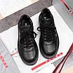 Черные кроссовки Prada|Кроссовки кожаные мужские Прада черного цвета с логотипами, фото 8