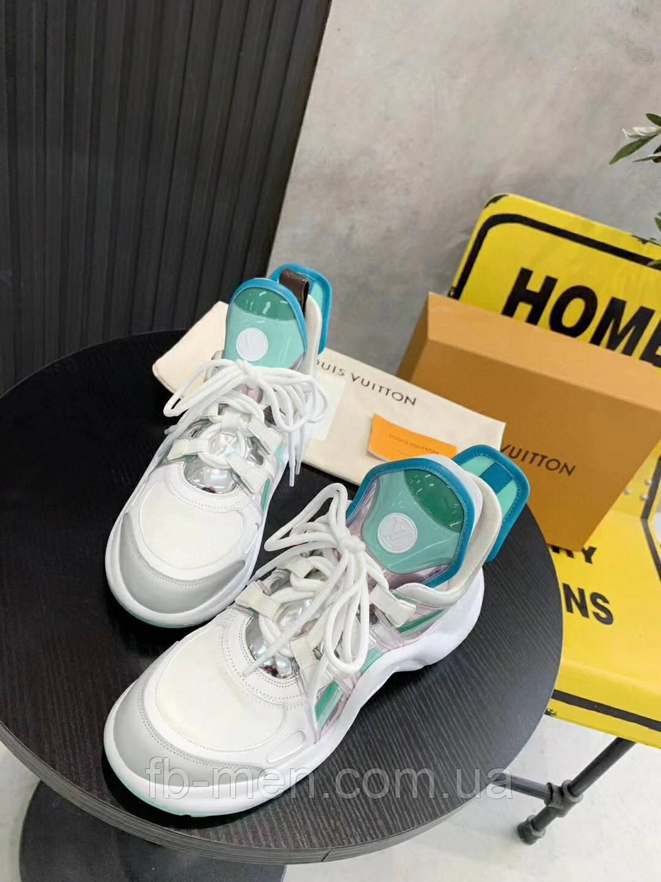 Бело-бирюзовые кроссовки Louis Vuitton