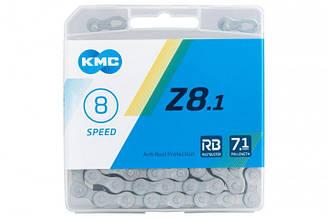 Велосипедная цепь KMC (кмс) Z8.1 RB с замком, 8 скоростей