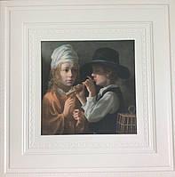 Самоклеящаяся картина мальчик с флейтой 700x700x7 мм (самоклеящийся рисунок)
