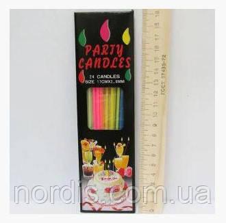 Свечи для торта тонкие без подставки 24 штуки.