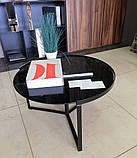 Журнальний стіл C-180 чорний глянсове скло D70*40 Vetro Mebel, фото 7