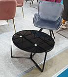 Журнальный стол C-180 черный глянцевое стекло D70*40 Vetro Mebel, фото 2