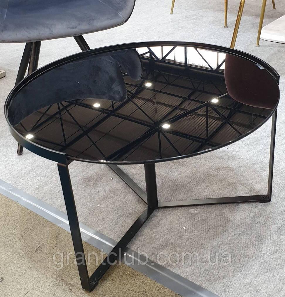 Журнальный стол C-180 черный глянцевое стекло D70*40 Vetro Mebel