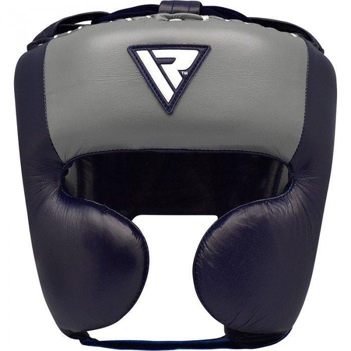 Боксерский шлем RDX Leather Pro Blue