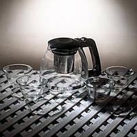 Чайный сервиз стеклянный из 5 предметов.