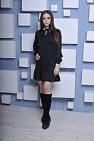 Женское красивое модное повседневное платье колокольчик с длинным рукавом и воланом Черного цвета