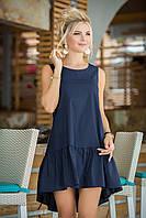 Летнее платье из хлопка  цвет: синий, размер: 36, 38, 40
