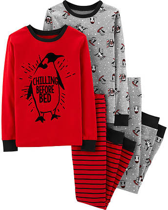 Комплект бавовняних піжам Пінгвін з 4-х частин, фото 2