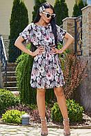 Летнее женское  платье с цветочным принтом цвет: черный, цветочный принт красного цвета, размер: M, L, XL, XXL