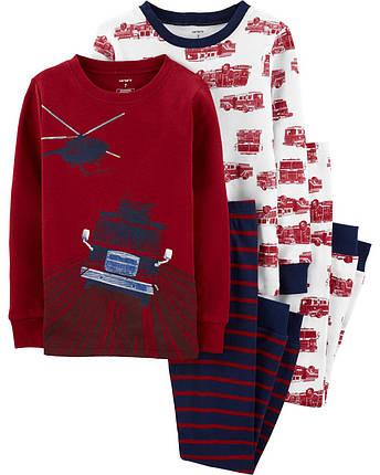 Комплект бавовняних піжам Пожежна машина з 4-х частин, фото 2