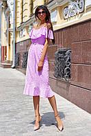 Красивое модное летнее женское платье 2020 цвет: сиреневый, размер: S, M, L, XL