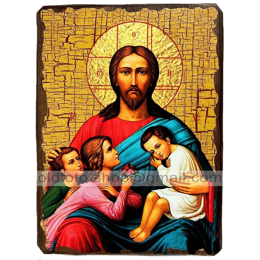 Икона Благословение детей Спаситель, Господь Вседержитель ,икона на дереве 130х170 мм