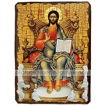 Икона Спаситель Господь Вседержитель на престоле ,икона на дереве 130х170 мм