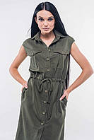 Красивое модное летнее женское платье 2020 цвет: хаки, размер: 44, 42, 50