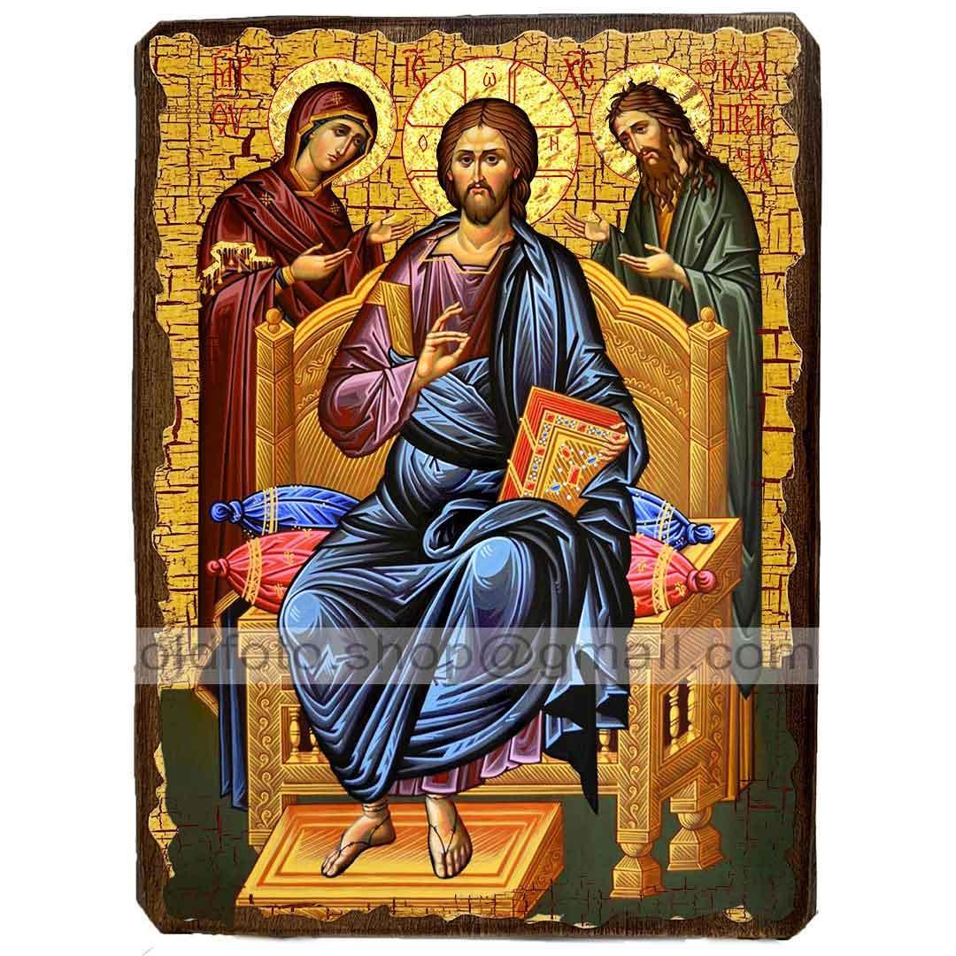 Икона Деисус (Деисис,  Деисусный чин, Спаситель Господь, Вседержитель) ,икона на дереве 130х170 мм