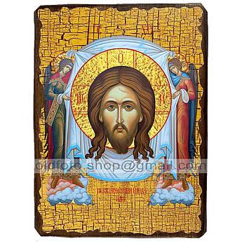 Икона Нерукотворный Образ Спаситель, Господь Вседержитель ,икона на дереве 130х170 мм