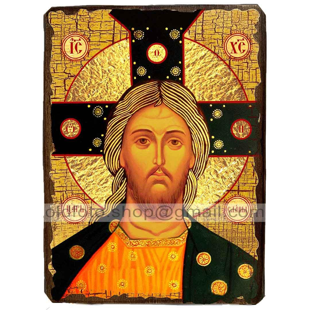 Икона Спас Златые Власы Спаситель, Господь Вседержитель ,икона на дереве 130х170 мм