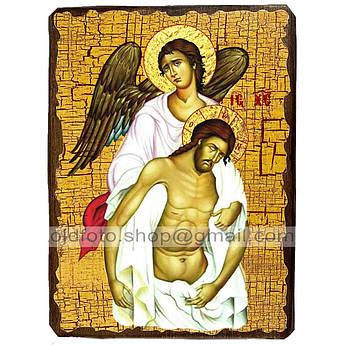 Икона Спаситель с Ангелом Спаситель, Господь Вседержитель ,икона на дереве 130х170 мм