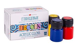 Акрилові фарби глянцеві Deсola,набір 6 кольорів 20 мл. ЗКХ
