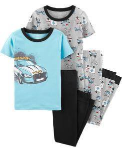 Комплект бавовняних піжам Поліцейська машина з 4-х частин, фото 2