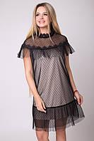 Красивое нарядное женское платье  цвет: черный+светло-бежевый, размер: 42-44(XS-S), 44-46(S-M), 46-48(M-L), 48-50(L-XL)