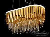 Хрустальная люстра овальной формы для гостиной со встроенной светодиодной подсветкой 55Вт&CDE6509/600x300-G