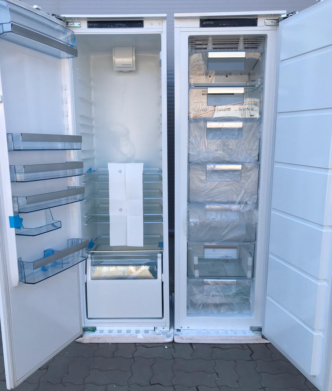 Новый комплект встраиваемая морозильная камера и холодильник Smeg