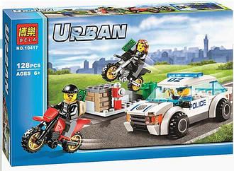Конструктор Bela City Погоня за воришками-байкерами 10417 (Аналог Лего  Lego City 60042) 128 дет