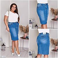 Джинсовая женская юбка по колено размеры батал 48-58 арт 1041