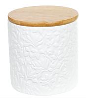 Банка керамическая Natural Bonadi с бамбуковой крышкой Жасмин 550 мл Белый матовый (304-900)