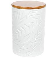Банка керамическая Natural Bonadi с бамбуковой крышкой Листья 800 мл Белый матовый (304-902)